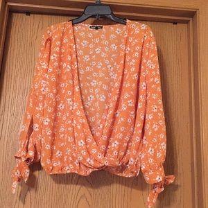 Charlotte Russe / Orange Floral Blouse